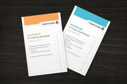 Design af plakat, brochure, klippoekort og katalog - Kajakhotellet. Klippekort - Kajakhotellet