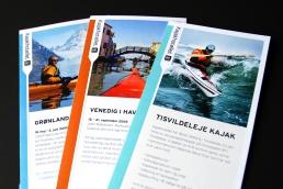 Design af plakat, brochure, klippoekort og katalog - Kajakhotellet. Brochure - Kajakhotellet
