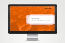 Napatech - design af visuel identitet, slideshow messe. PowerPoint template og design af præsentationer.